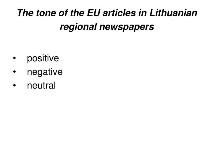The tone of the EU articles in Lithuanian regional newspapers