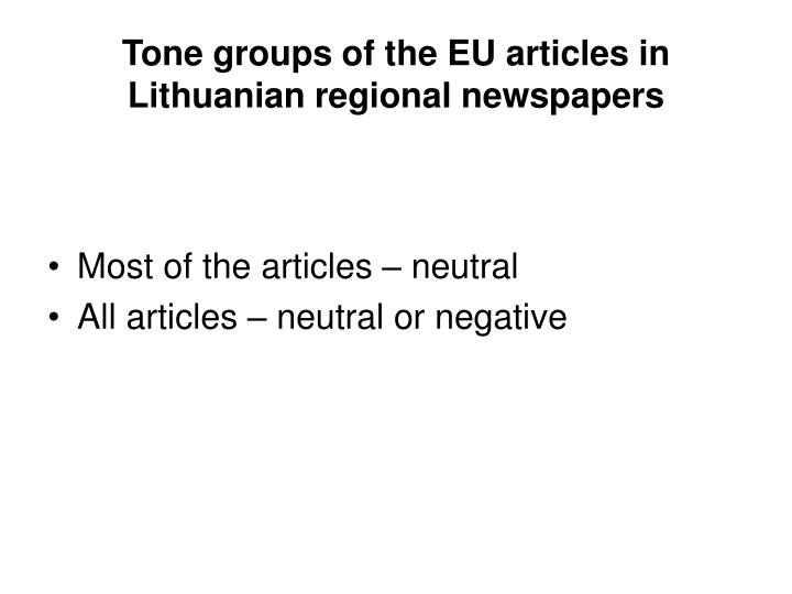 Tone groups of the EU articles in Lithuanian regional newspapers