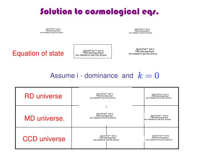Solution to cosmological eqs.