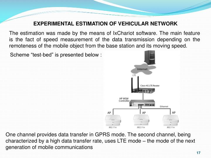 EXPERIMENTAL ESTIMATION OF VEHICULAR NETWORK