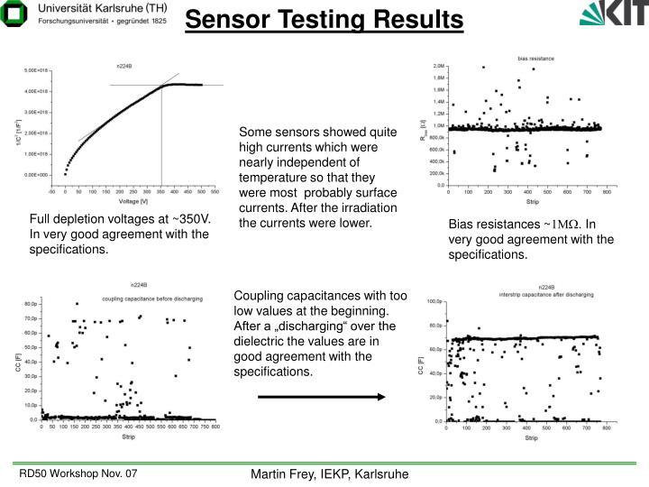 Sensor Testing Results