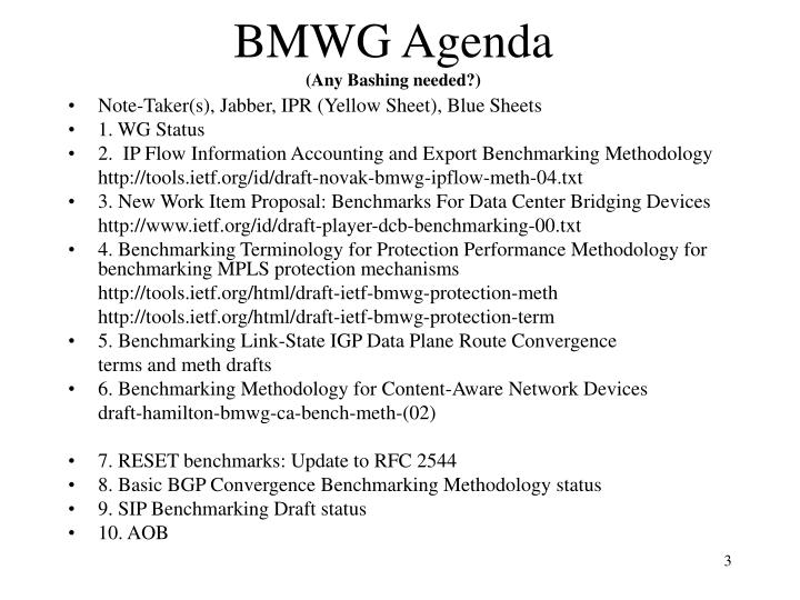 BMWG Agenda