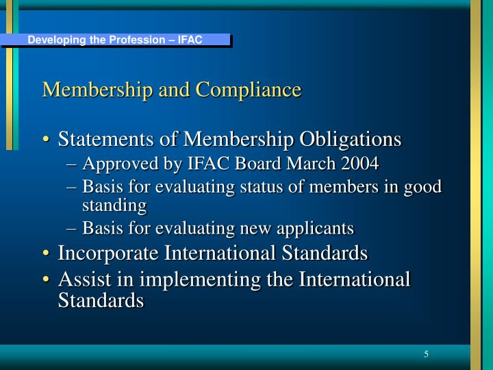 Membership and Compliance