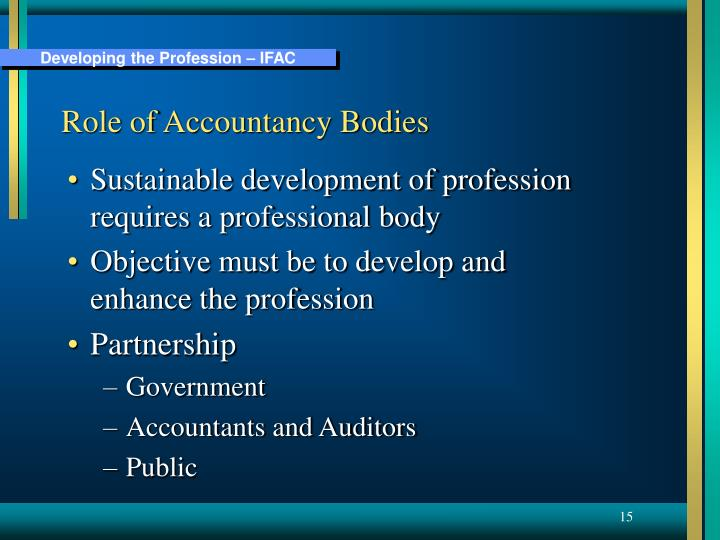Role of Accountancy Bodies