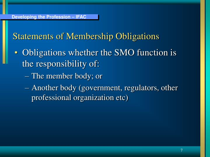 Statements of Membership Obligations