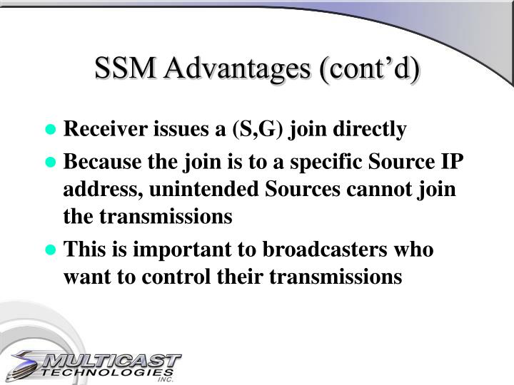 SSM Advantages (cont'd)