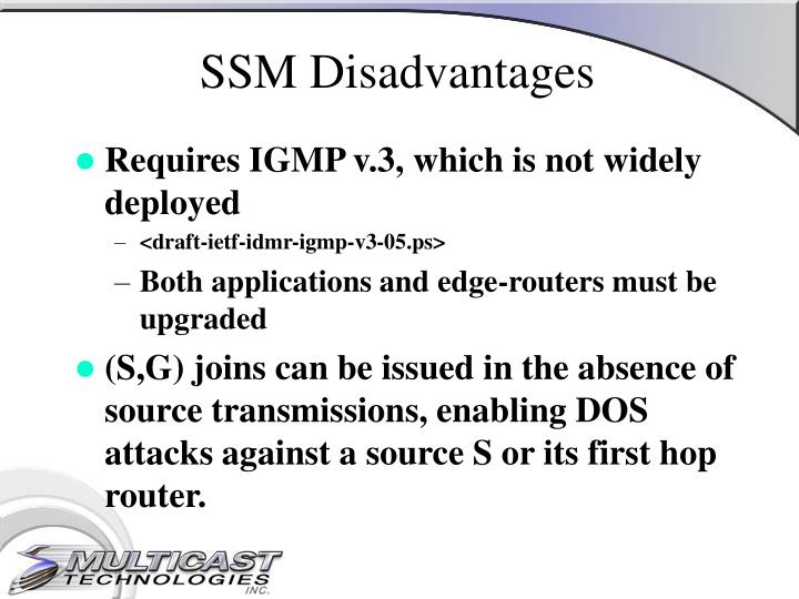 SSM Disadvantages