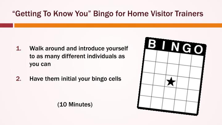"""Getting To Know You"" Bingo for Home Visitor Trainers"
