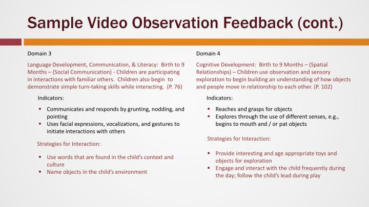 Sample Video Observation Feedback (cont.)