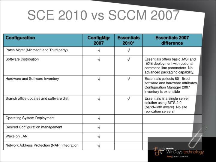 SCE 2010 vs SCCM 2007