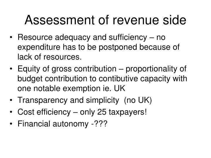 Assessment of revenue side