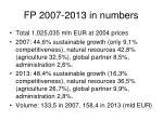fp 2007 2013 in numbers