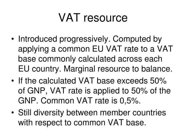 VAT resource