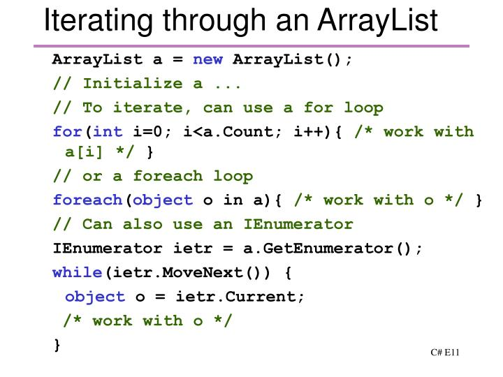 Iterating through an ArrayList