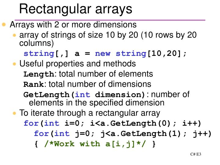 Rectangular arrays
