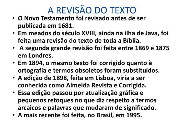 A REVISÃO DO TEXTO