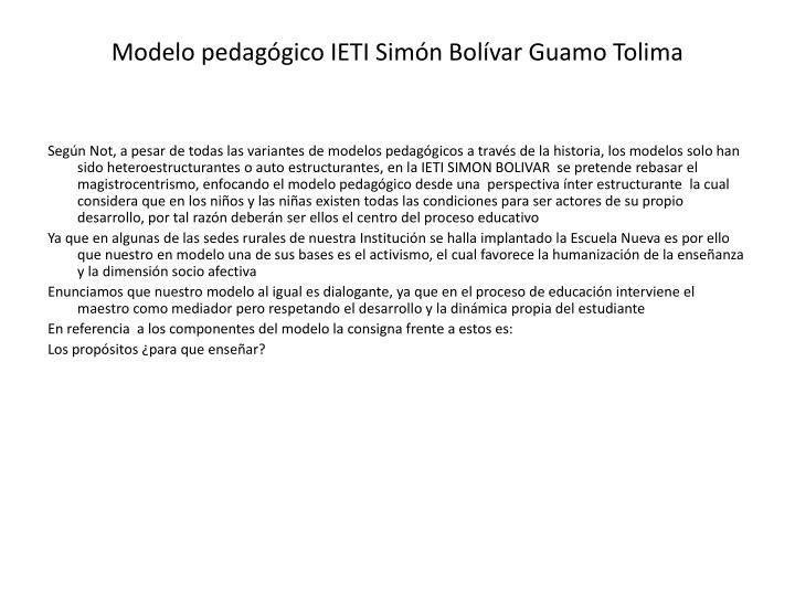 Modelo pedagógico IETI Simón Bolívar Guamo Tolima
