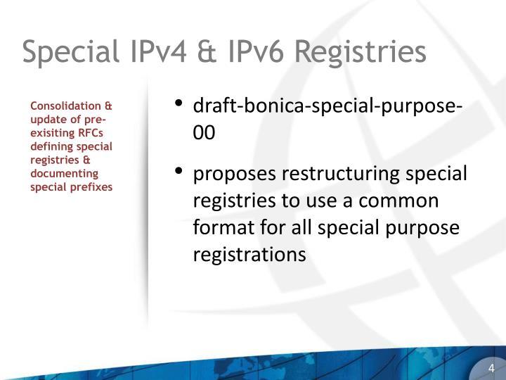 Special IPv4 & IPv6 Registries