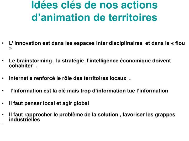 Idées clés de nos actions d'animation de territoires
