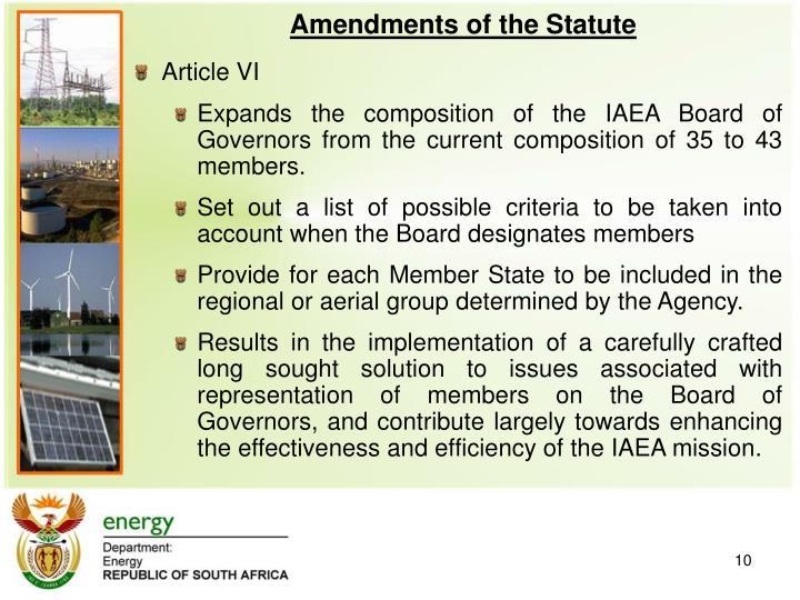 Amendments of the Statute