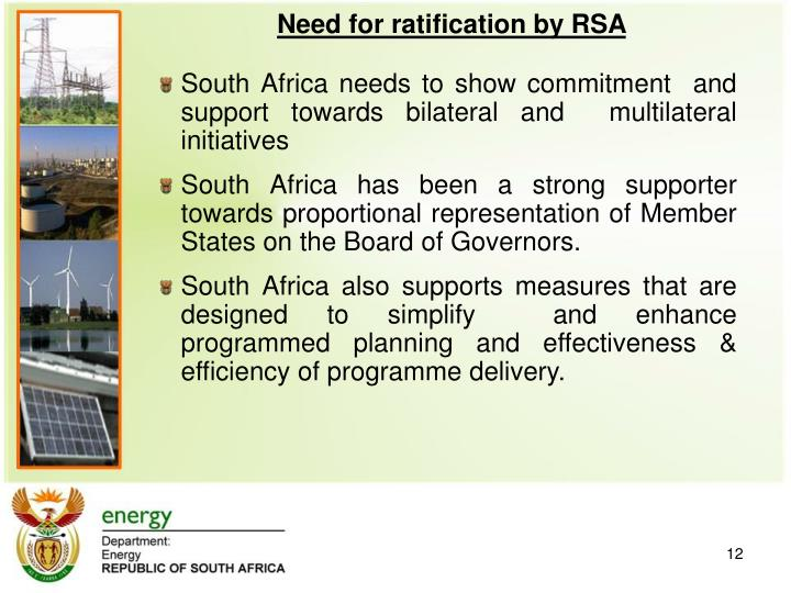 Need for ratification by RSA