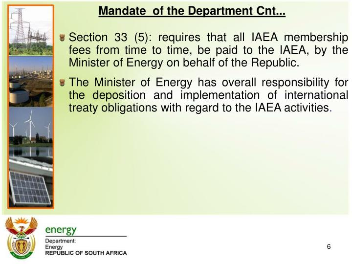 Mandate  of the Department