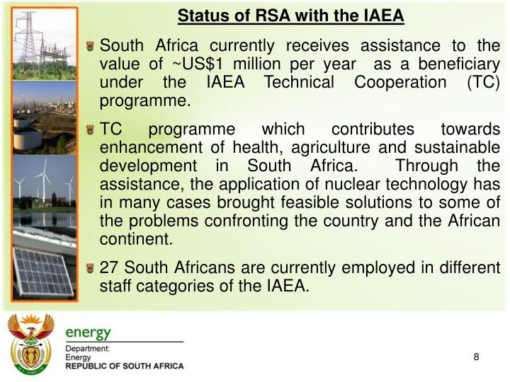 Status of RSA with the IAEA
