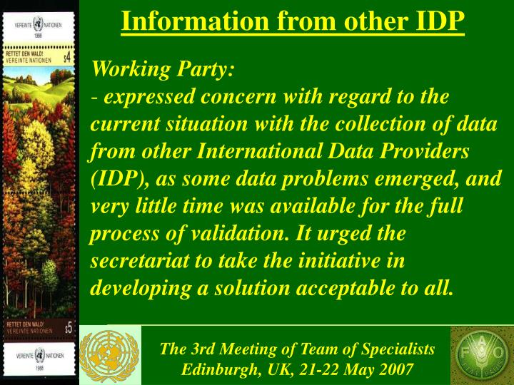 Information from other IDP