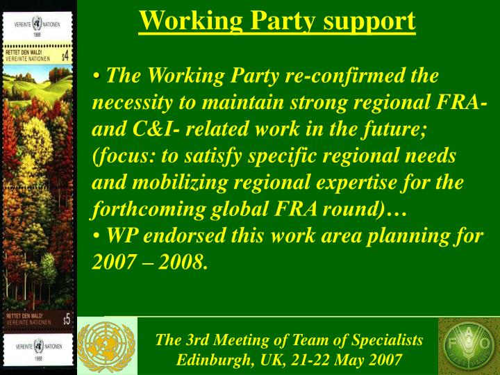 Working Party support