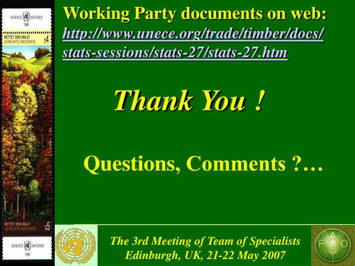 Working Party documents on web: