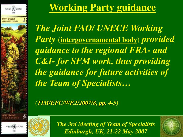 Working Party guidance