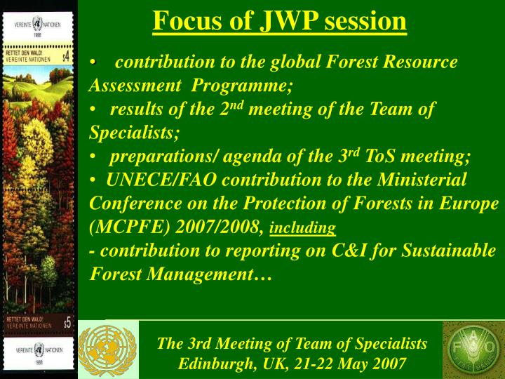 Focus of JWP session