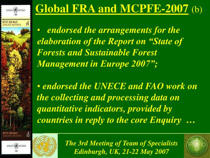 Global FRA and MCPFE-2007