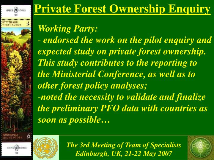 Private Forest Ownership Enquiry