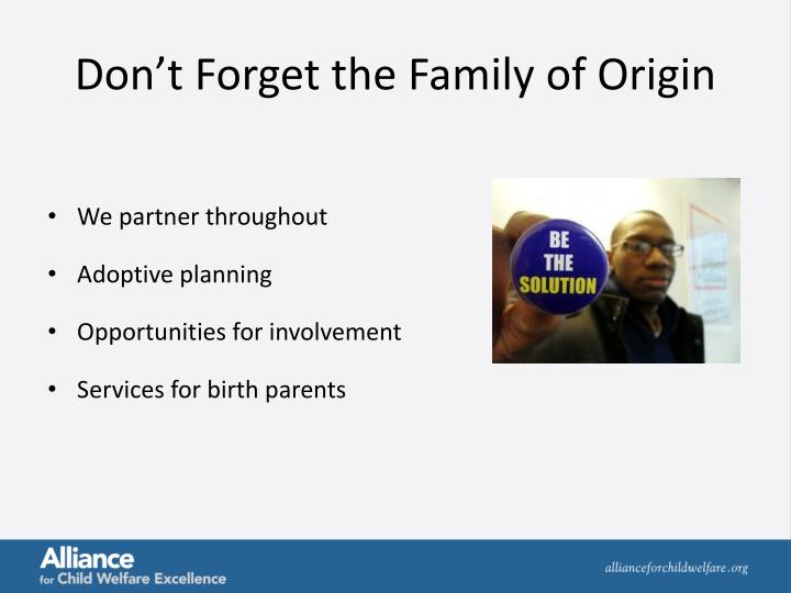 Don't Forget the Family of Origin