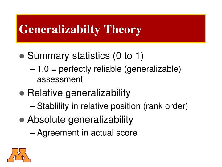 Generalizabilty Theory