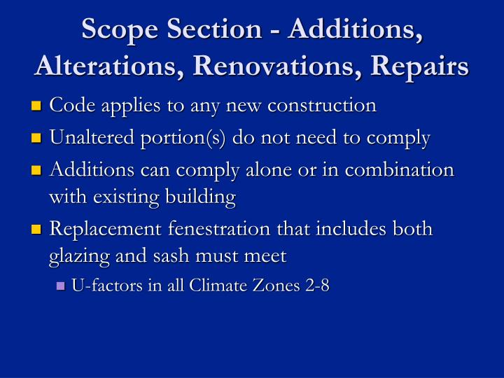 Scope Section - Additions, Alterations, Renovations, Repairs
