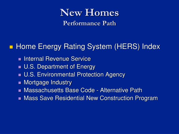 Home Energy Rating System (HERS) Index