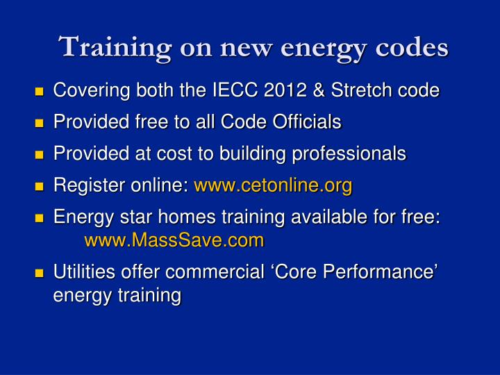 Training on new energy codes