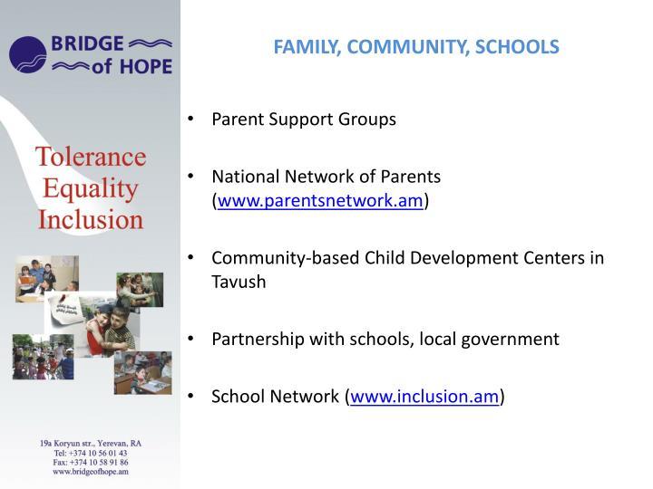 Family, community, schools