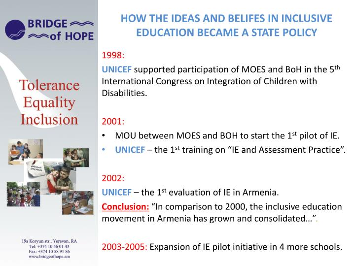 HOW THE IDEAS AND BELIFES IN INCLUSIVE EDUCATION BECAME A STATE POLICY