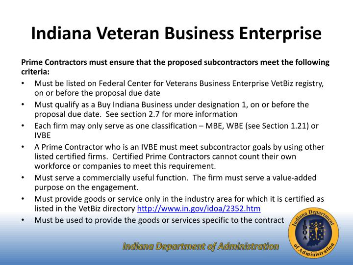 Indiana Veteran Business Enterprise