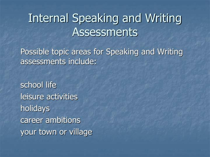 Internal Speaking and Writing Assessments