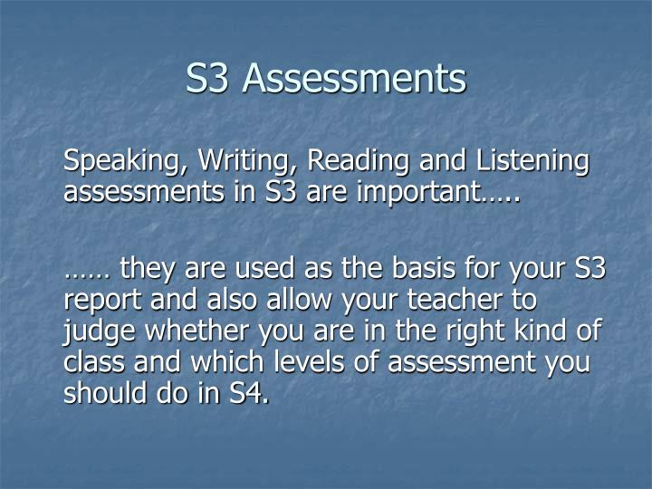 S3 Assessments