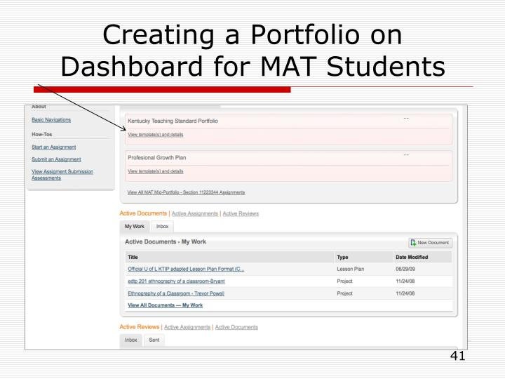 Creating a Portfolio on Dashboard for MAT Students