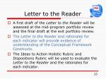 letter to the reader