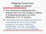 shaping tomorrow ideas to action