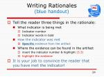 writing rationales blue handout