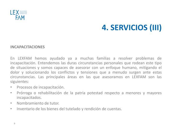 4. SERVICIOS (III)