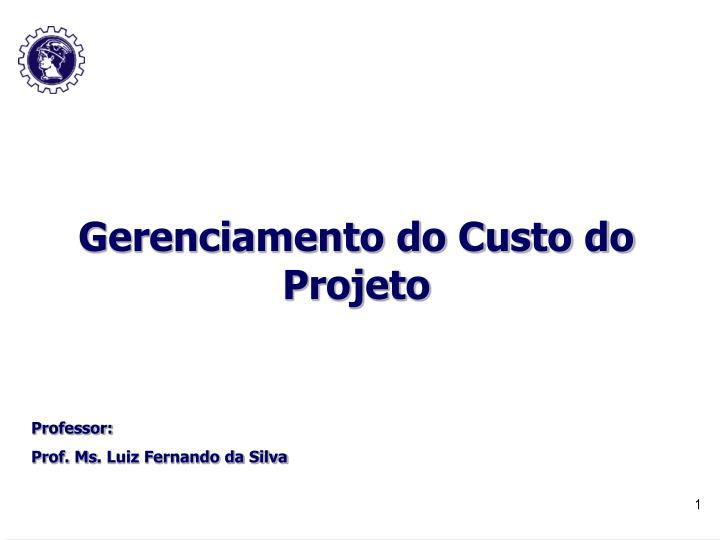 Gerenciamento do Custo do Projeto